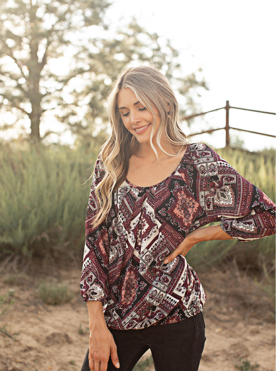 Pre-Order Patchwork Pleated Neck Bubble Sleeve Blouse -Berry/Tan/Black - Front