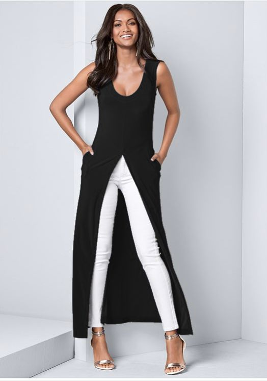 Front Slit Long Tank with Pockets -Black - Front