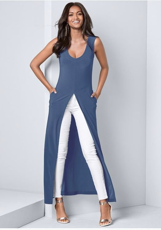 Front Slit Long Tank with Pockets -Blue - Front
