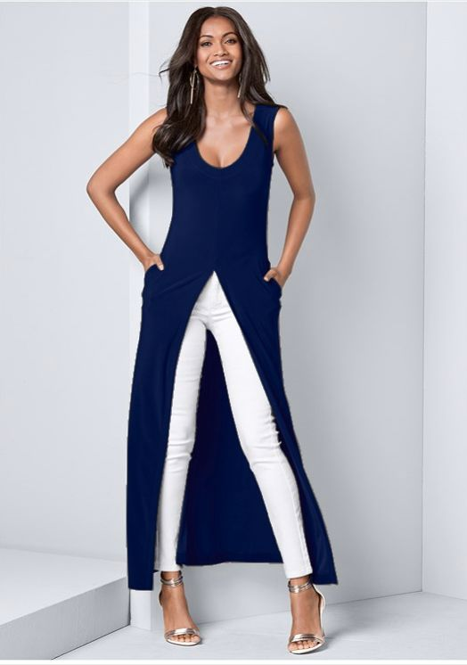 Front Slit Long Tank with Pockets -Navy - Front