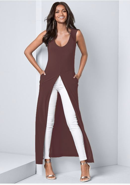 Front Slit Long Tank with Pockets -Rust - Front