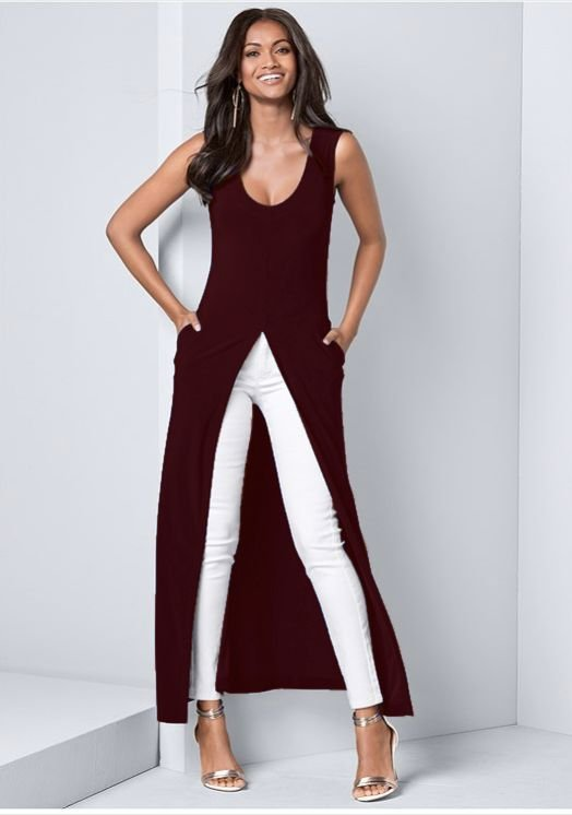 Front Slit Long Tank with Pockets -Wine - Front