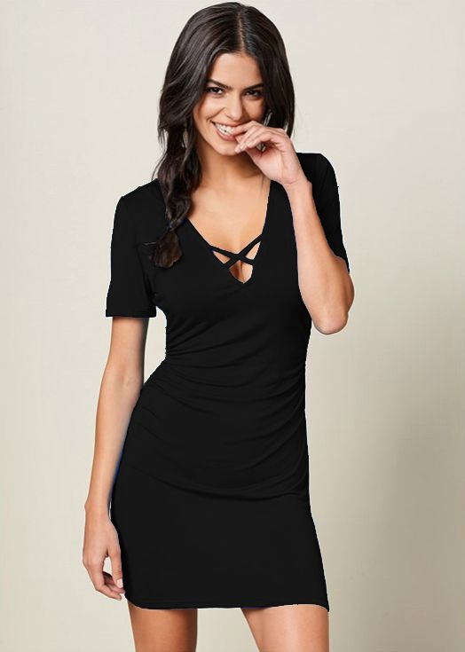 Pre-Order Rouched side Midi Dress with Criss-cross Detail -Black - Front