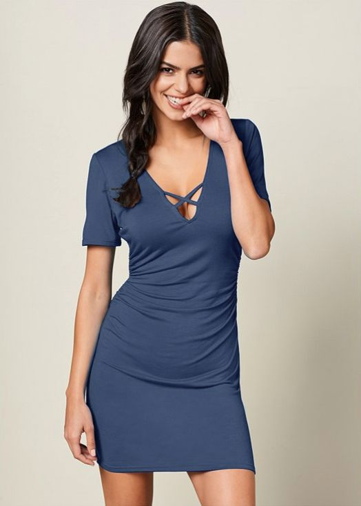 Pre-Order Rouched side Midi Dress with Criss-cross Detail -Denim - Front
