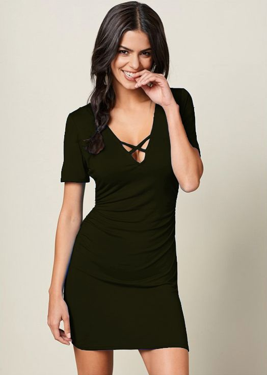 Pre-Order Rouched side Midi Dress with Criss-cross Detail -Olive - Front