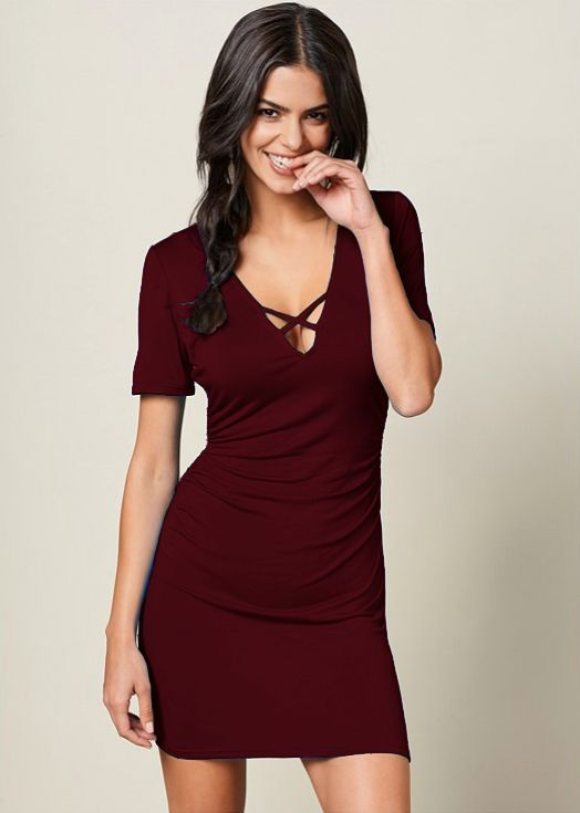 Pre-Order Rouched side Midi Dress with Criss-cross Detail -Wine - Front