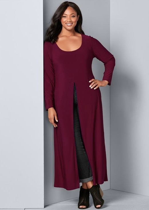 Front Slit Long Sleeve Shirt with Pockets - Plus -Burgundy - Front