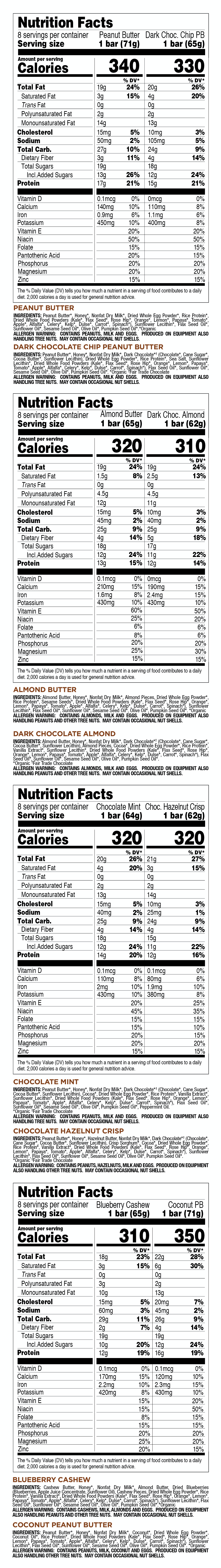 Variety Pack nutritional information
