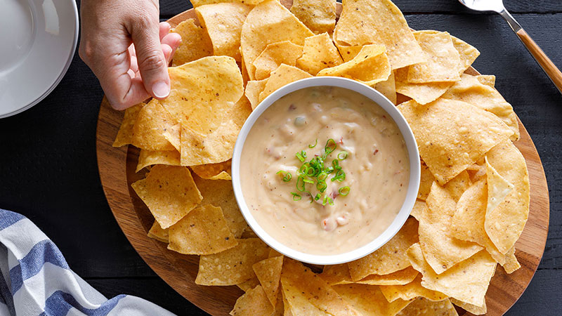 queso dip and chips
