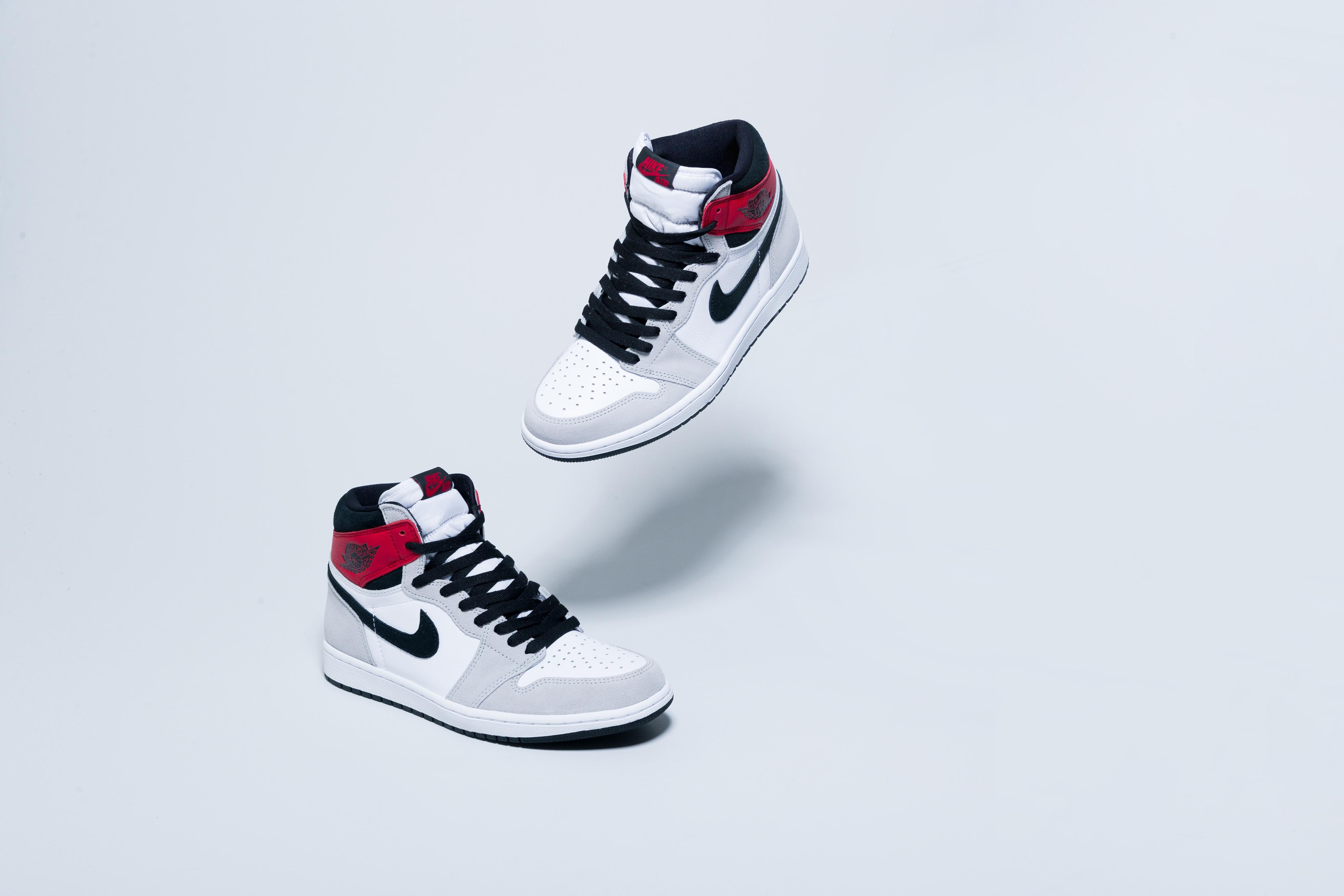 Jordan - Air Jordan 1 Retro Hi OG - White/Black-Light Smoke Grey-Varsity Red - Up There