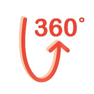 270° rotation and 360° swivel