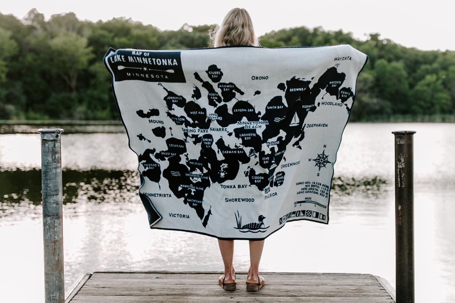 image of Lake Minnetonka Map Wool Throw