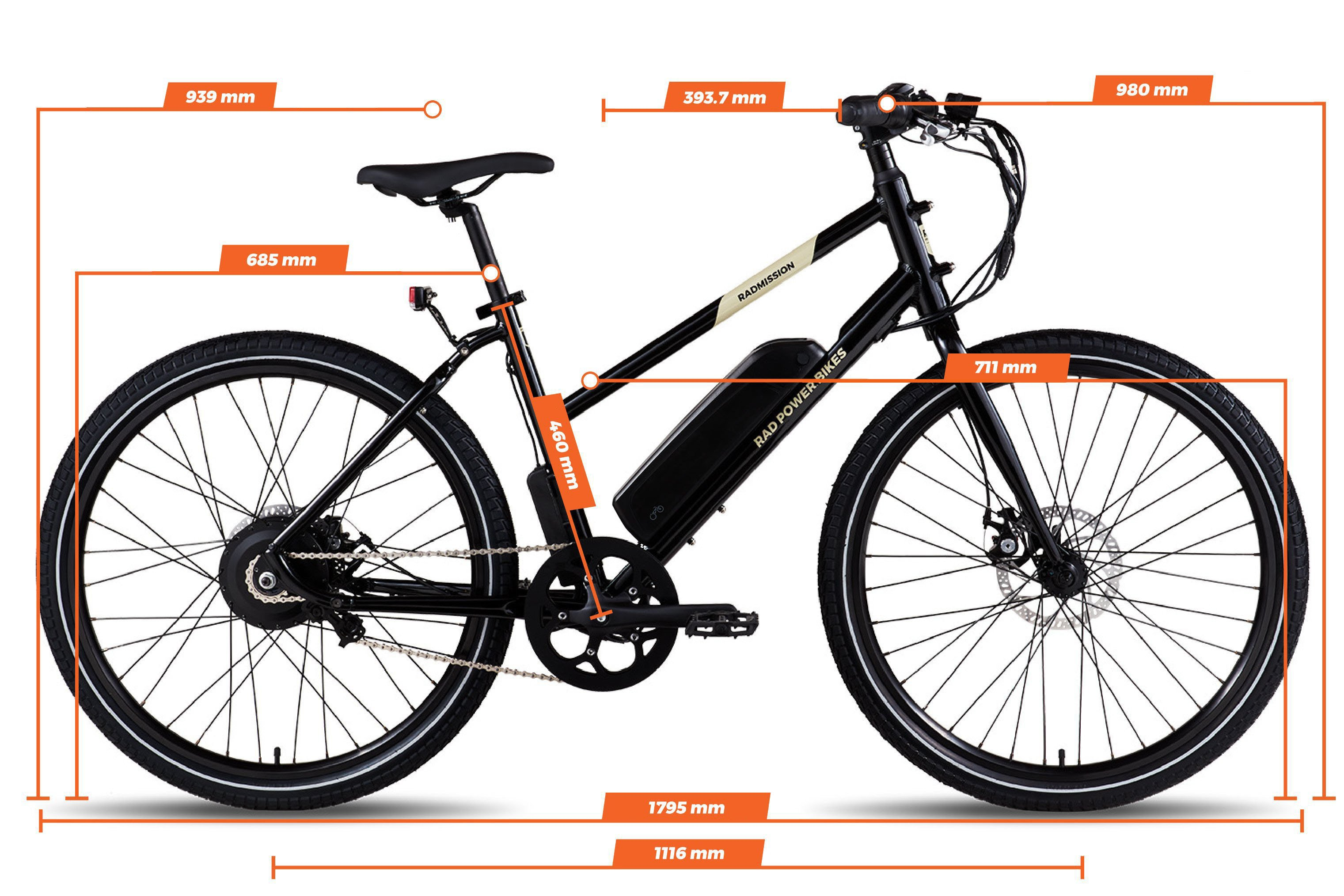 Geometry chart for the RadMission Electric Metro Bike