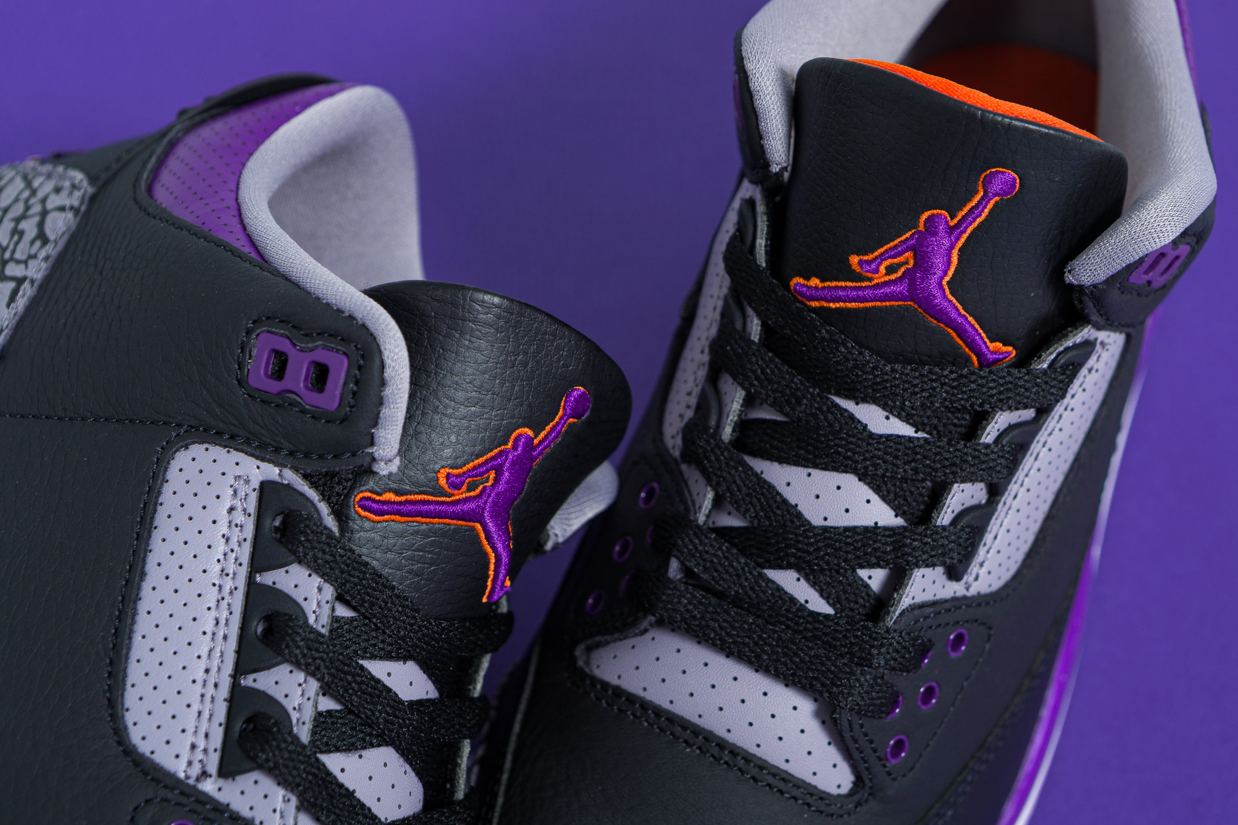 Jordan - Air Jordan 3 Retro - Black/Cement Grey-White-Court Purple - Up There