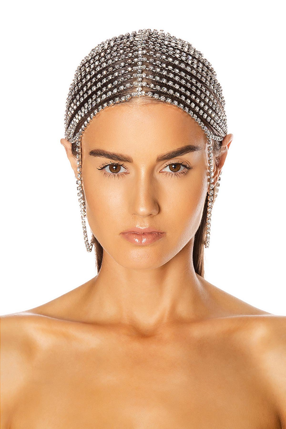 Draped Crystal Hairpiece Silver