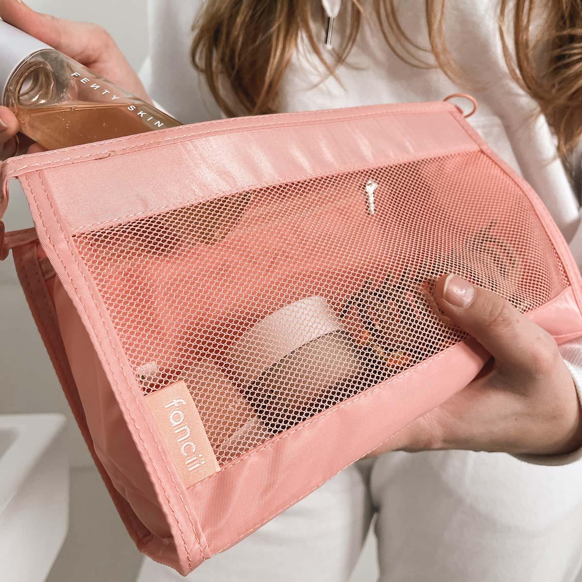Keep small bathroom toiletries secure in your blush cloe makeup travel bag