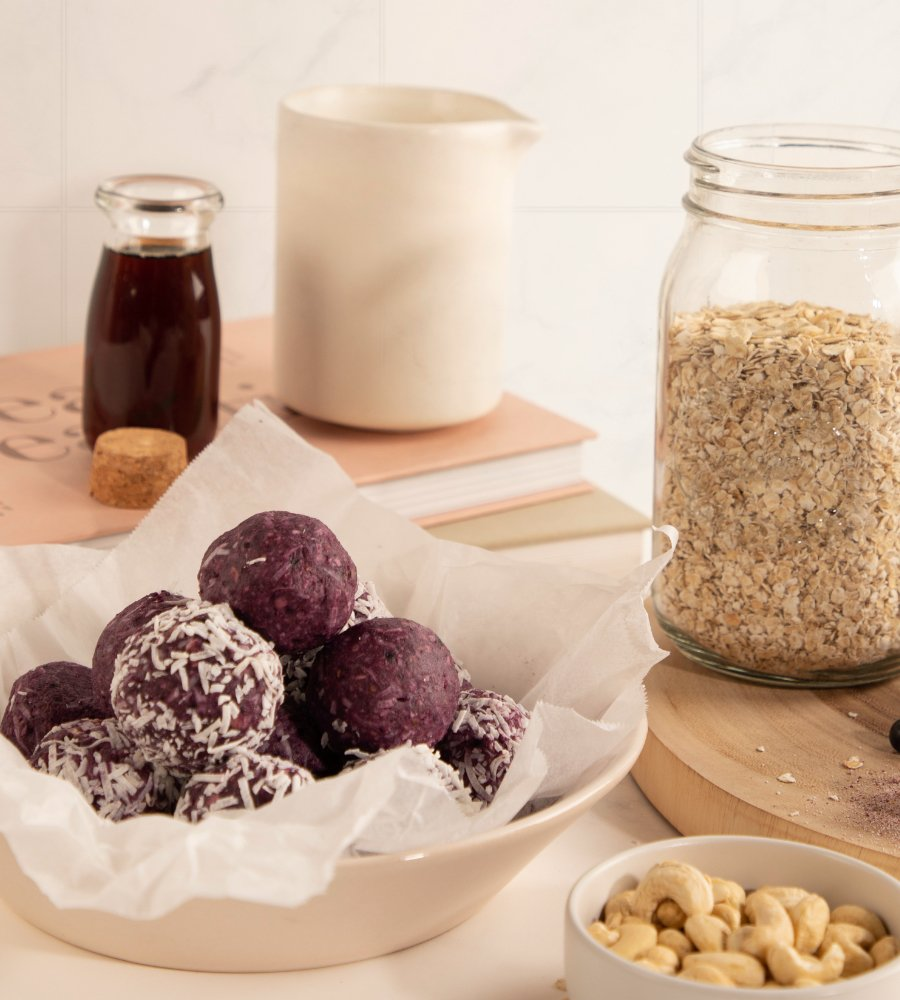 Berry and coconut beauty bliss balls