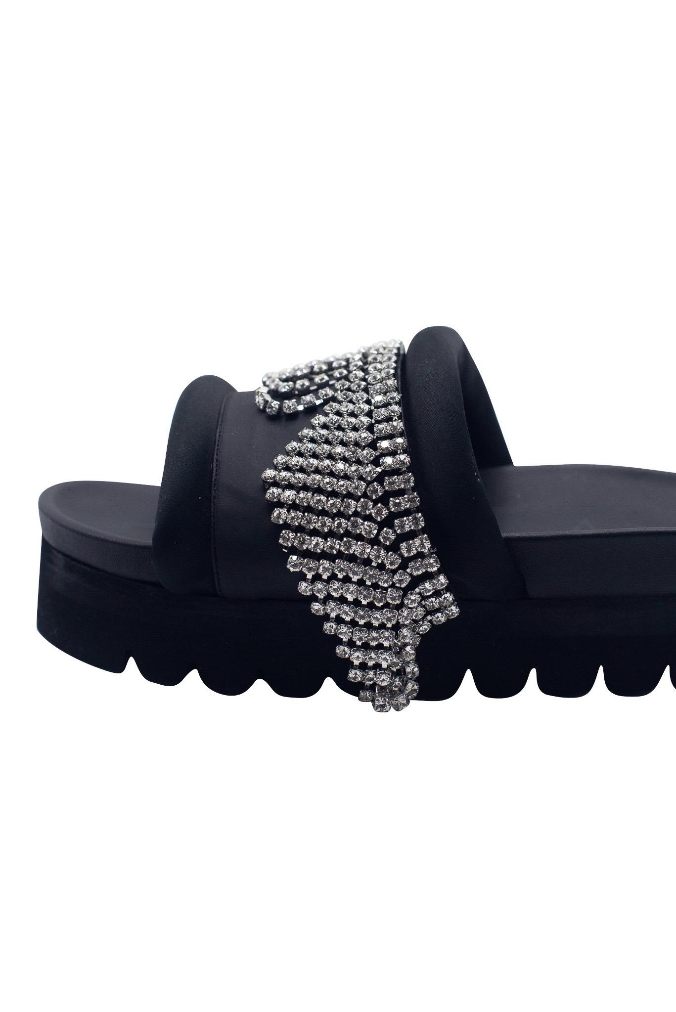 Crystal Fringe Platform Sandals