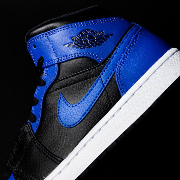 Air Jordan 1 Mid Black Royal Tumbled Leather - 554724-077