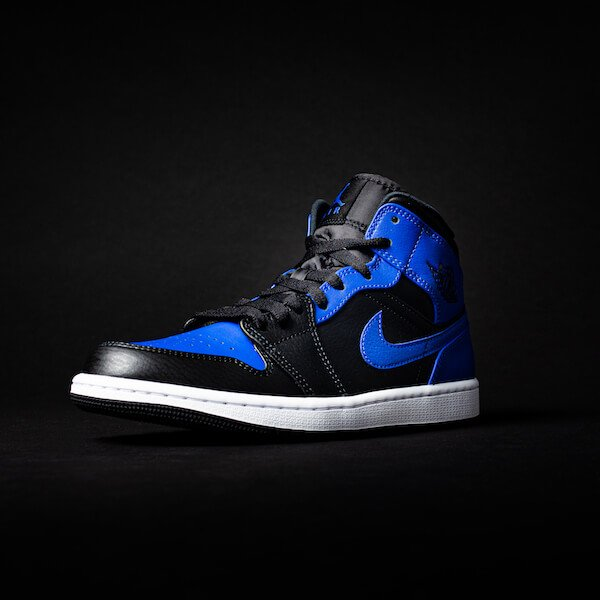 Air Jordan 1 Mid Black Royal Tumbled Leather 554724-077