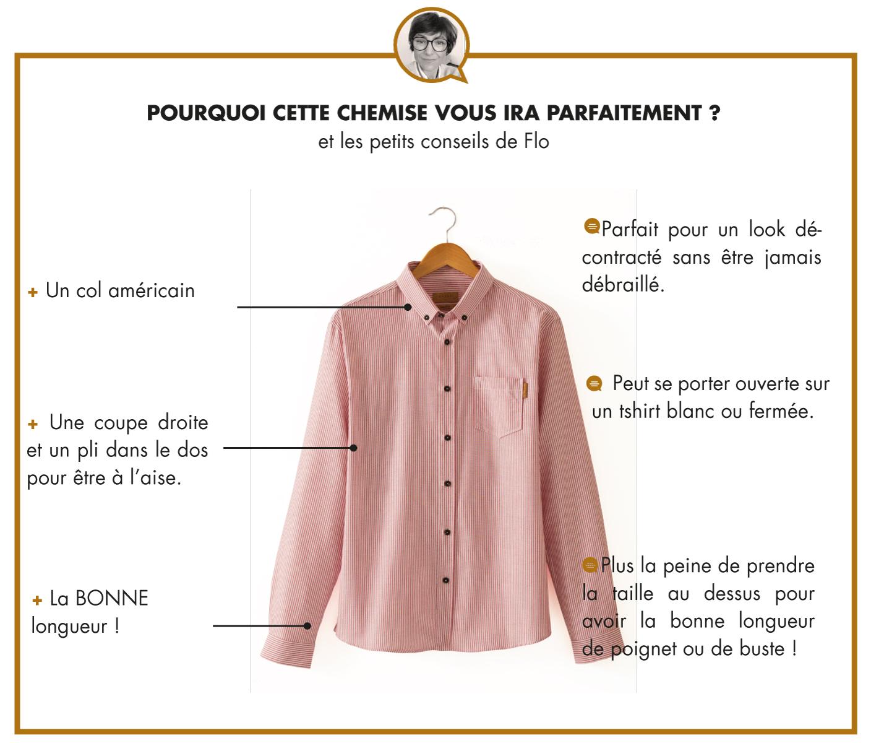 LA CHEMISE CAMPUS - RAYURE ROSE