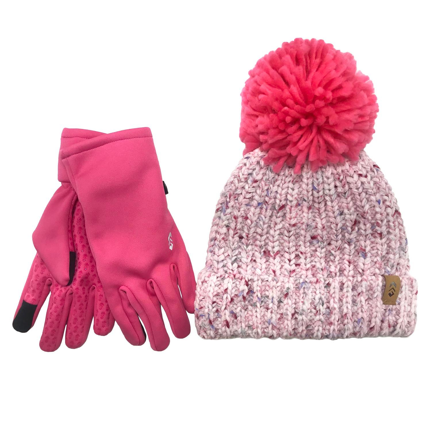 Girl's Chenille Beanine & 2-Way Stretch Glove Set