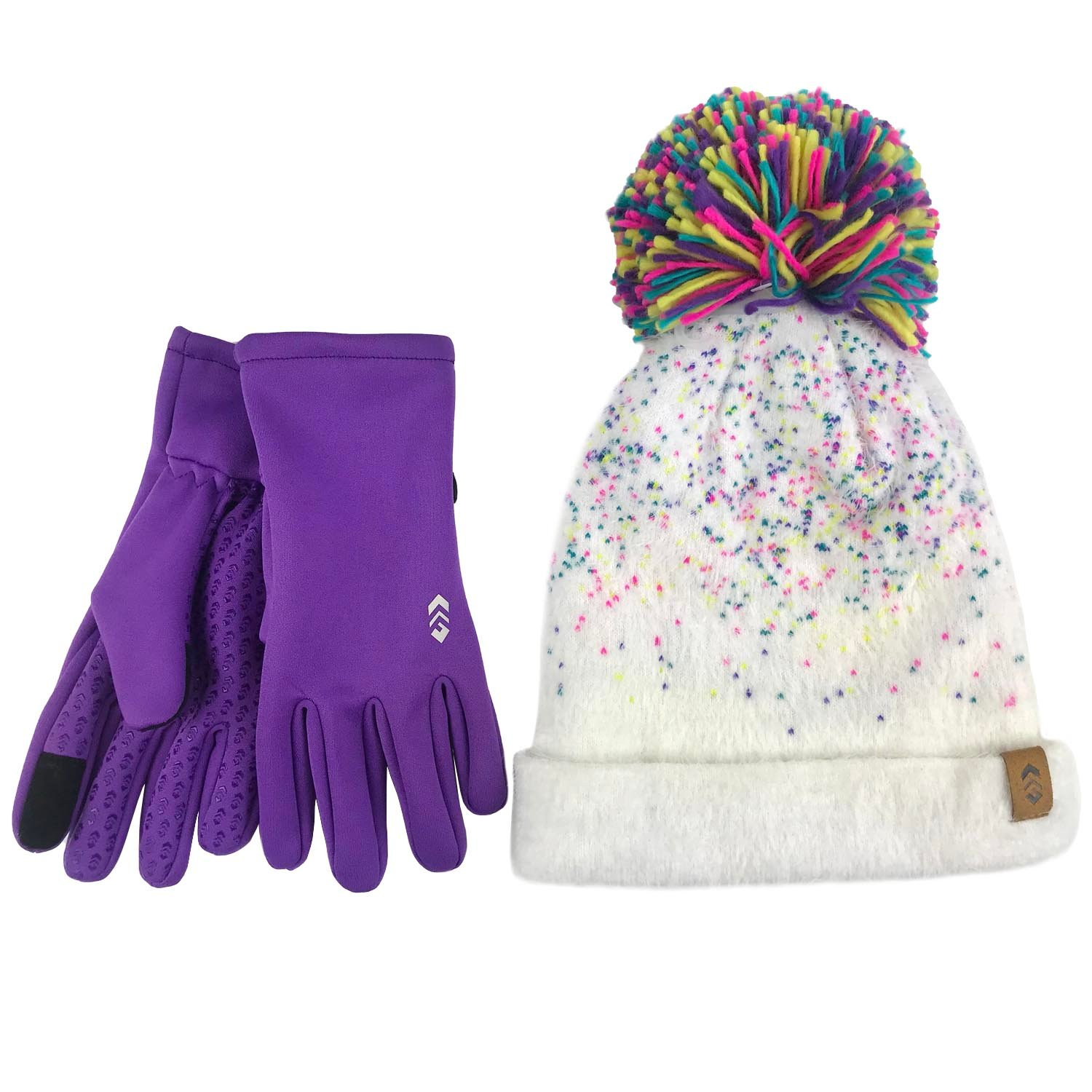 Girl's Knit Beanie & 2-Way Stretch Glove Set