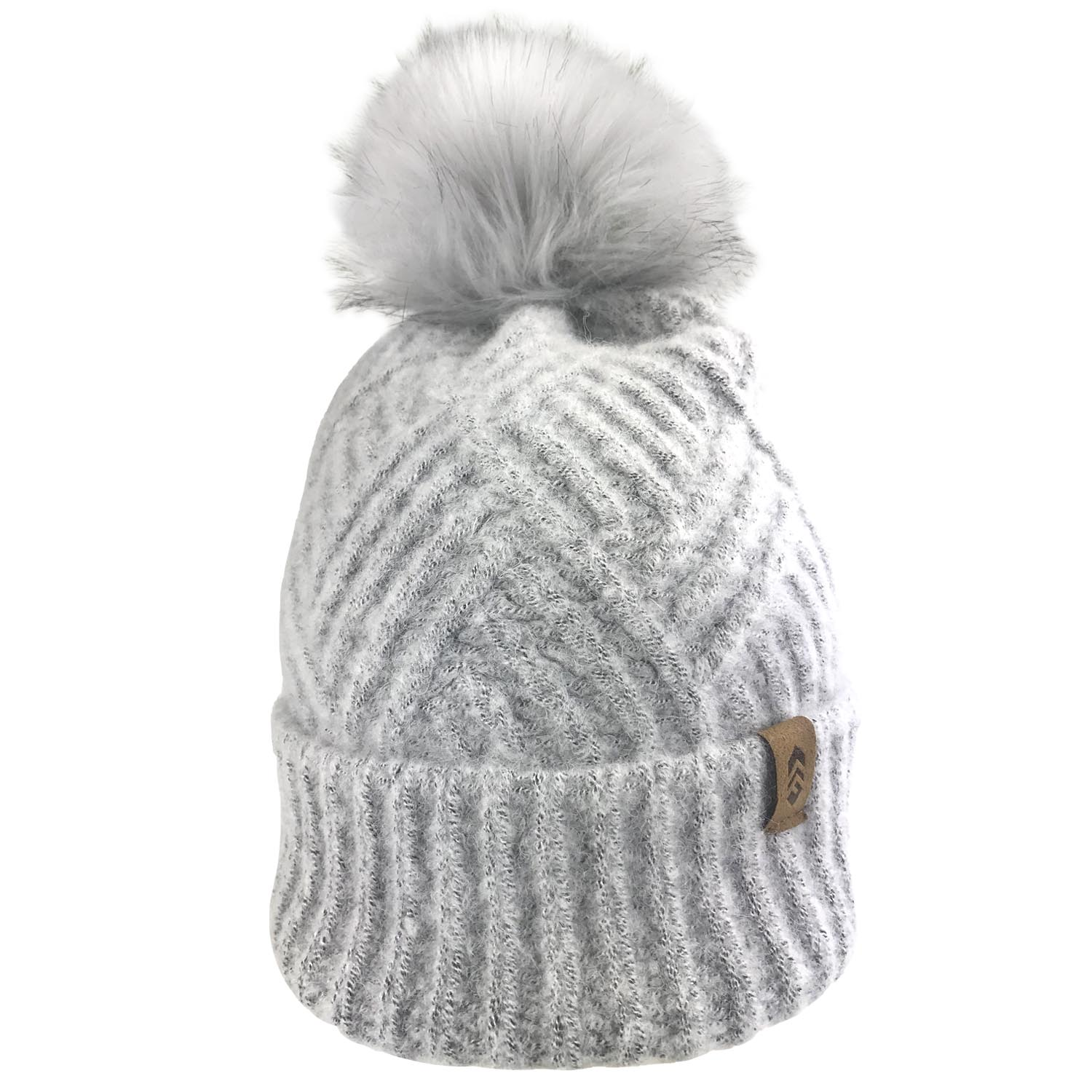Women's Cross Cable Knit Beanie with Faux Fur Pom
