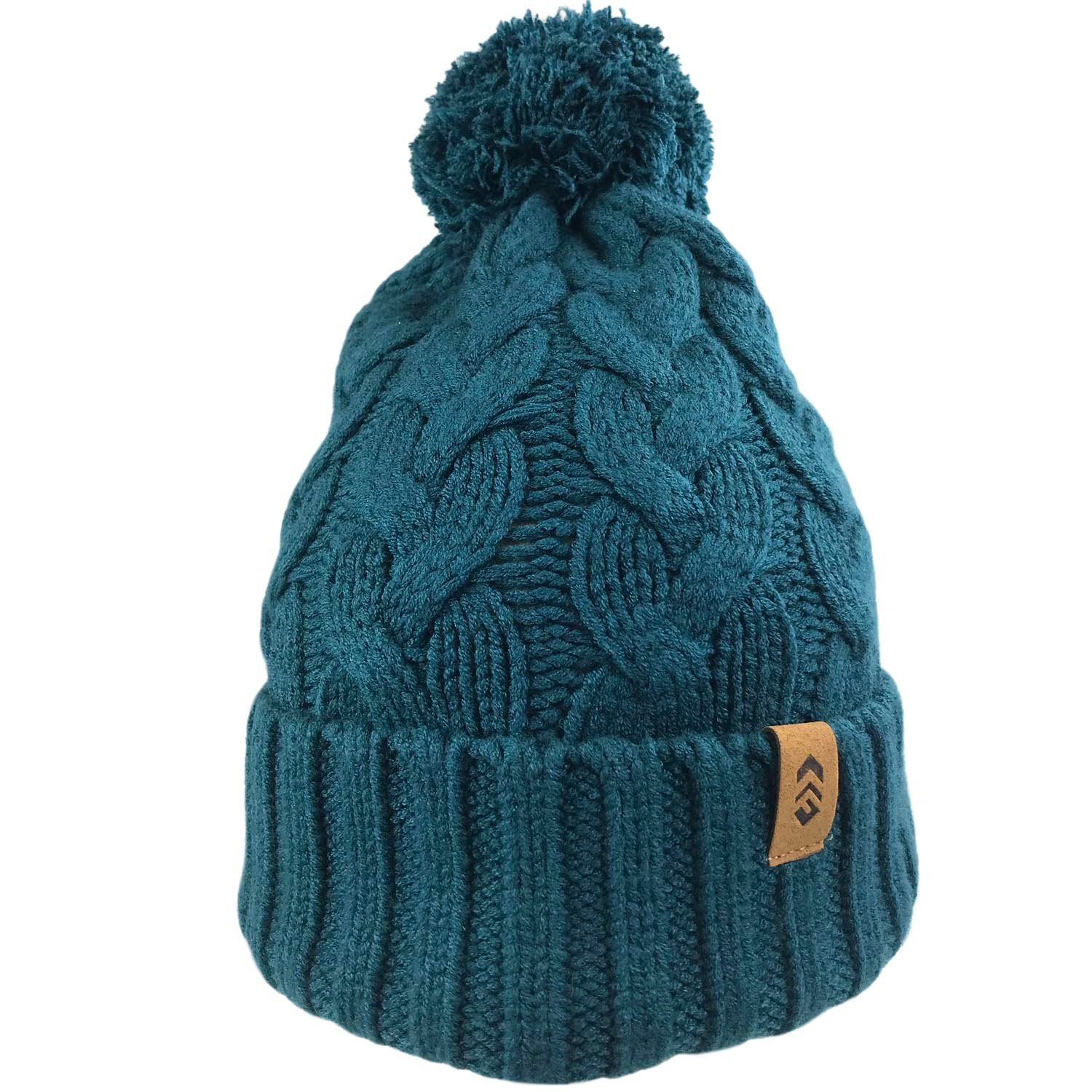 Women's Cable Knit Beanie with Yarn Pom