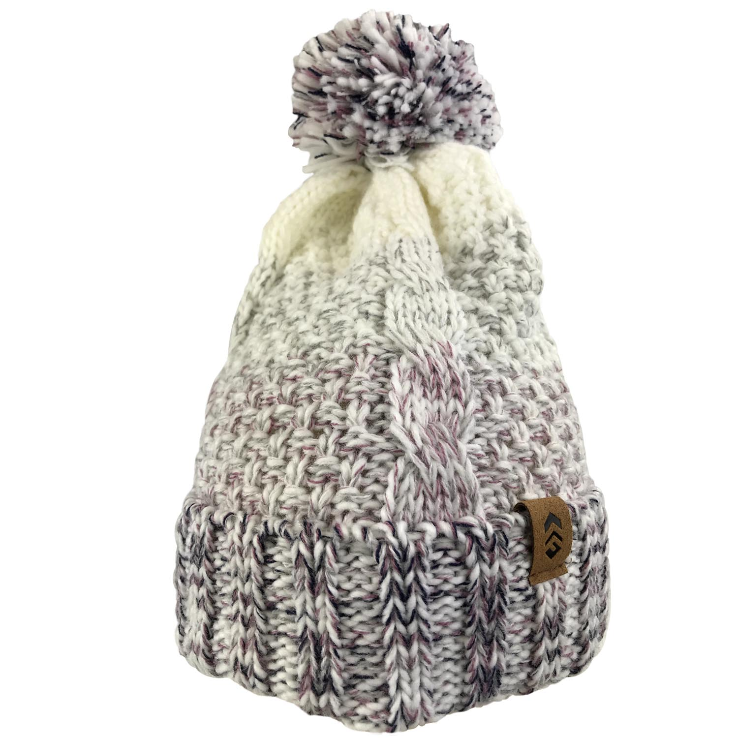 Women's Marled Cable Knit Beanie with Yarn Pom
