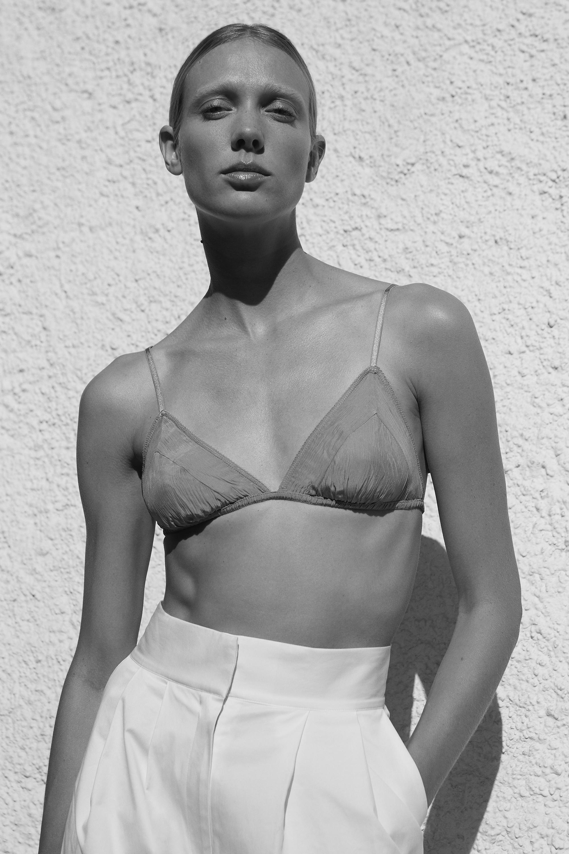 Seren Bra Fawn | Lourdes Organic Cotton Trouser White