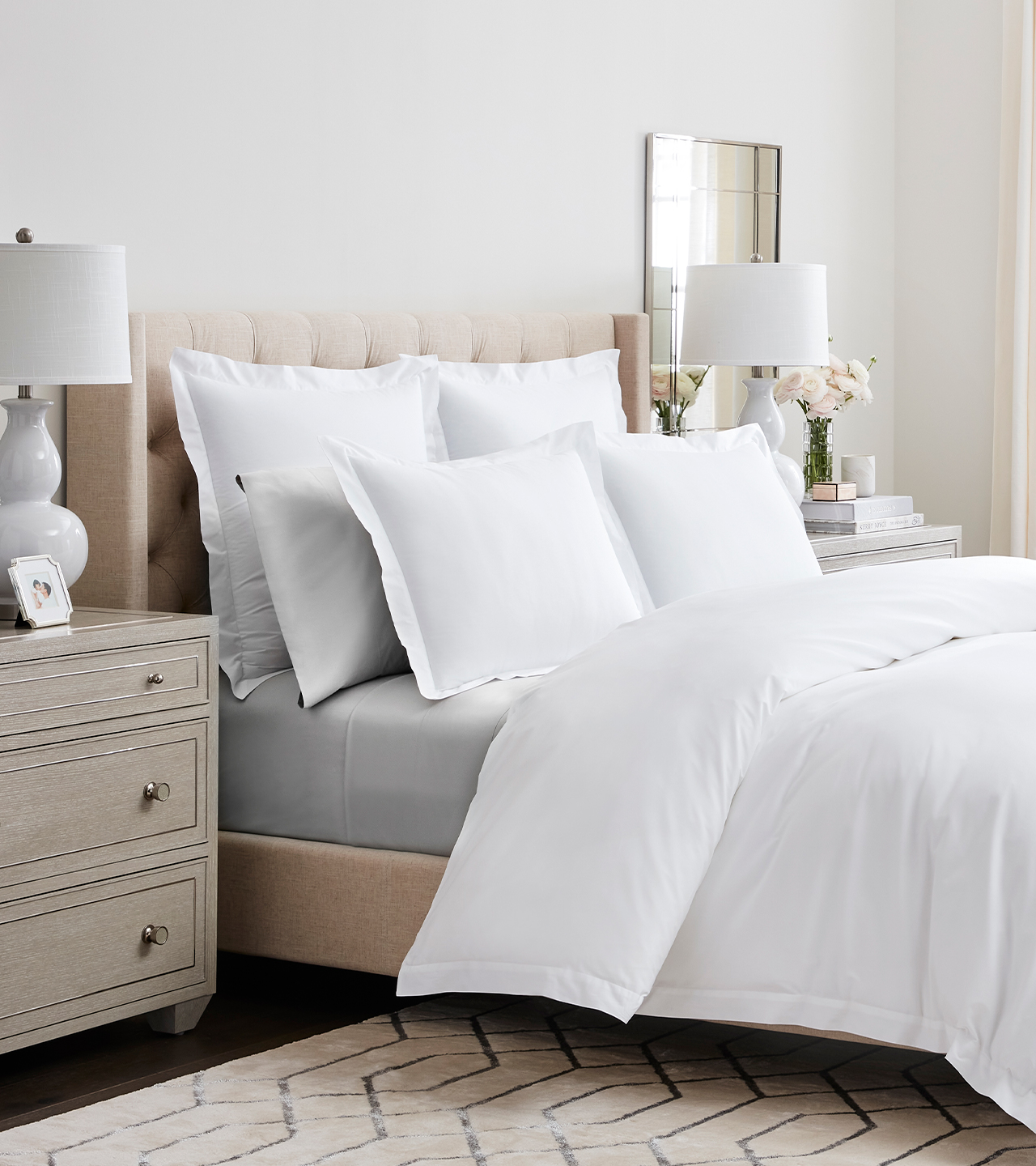 Bed with Percale Tailored Duvet Set in White