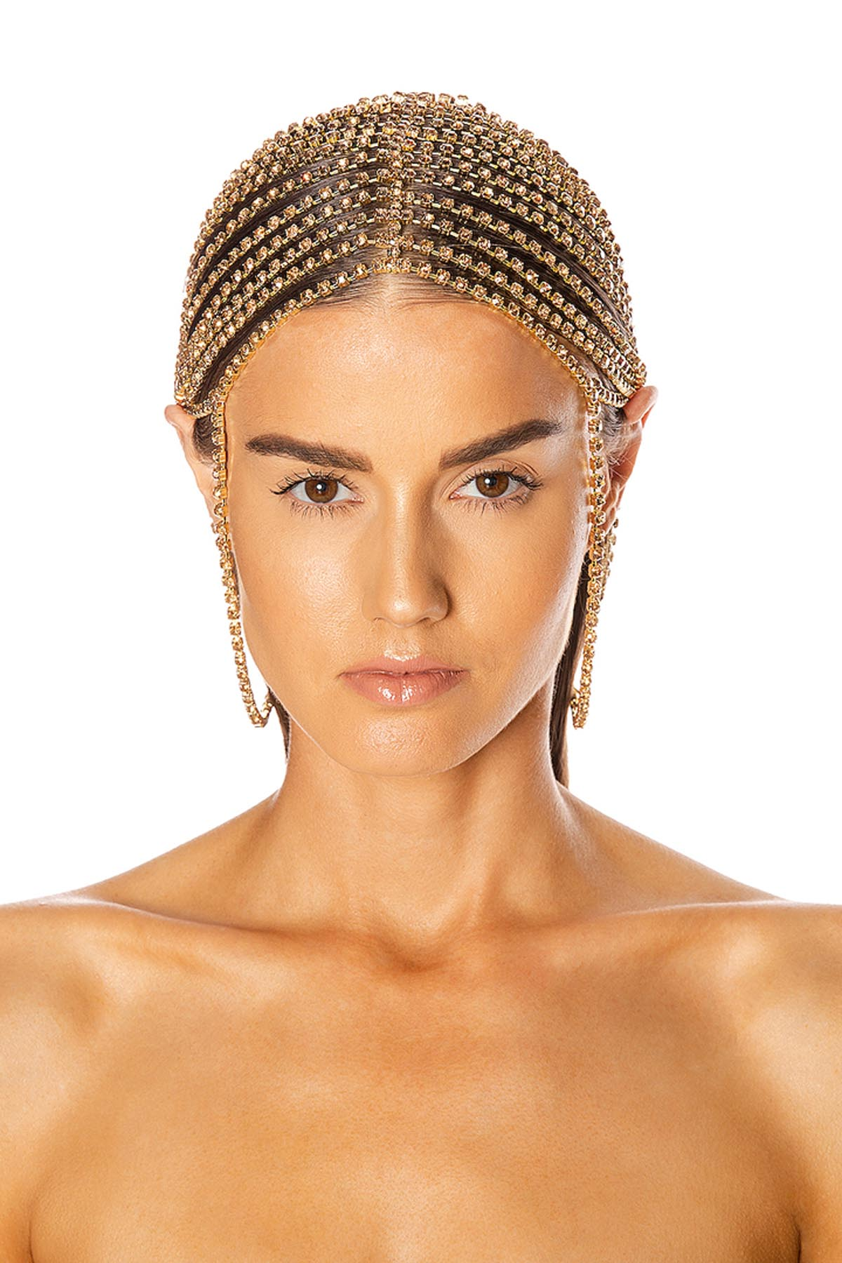 Draped Crystal Hairpiece Gold