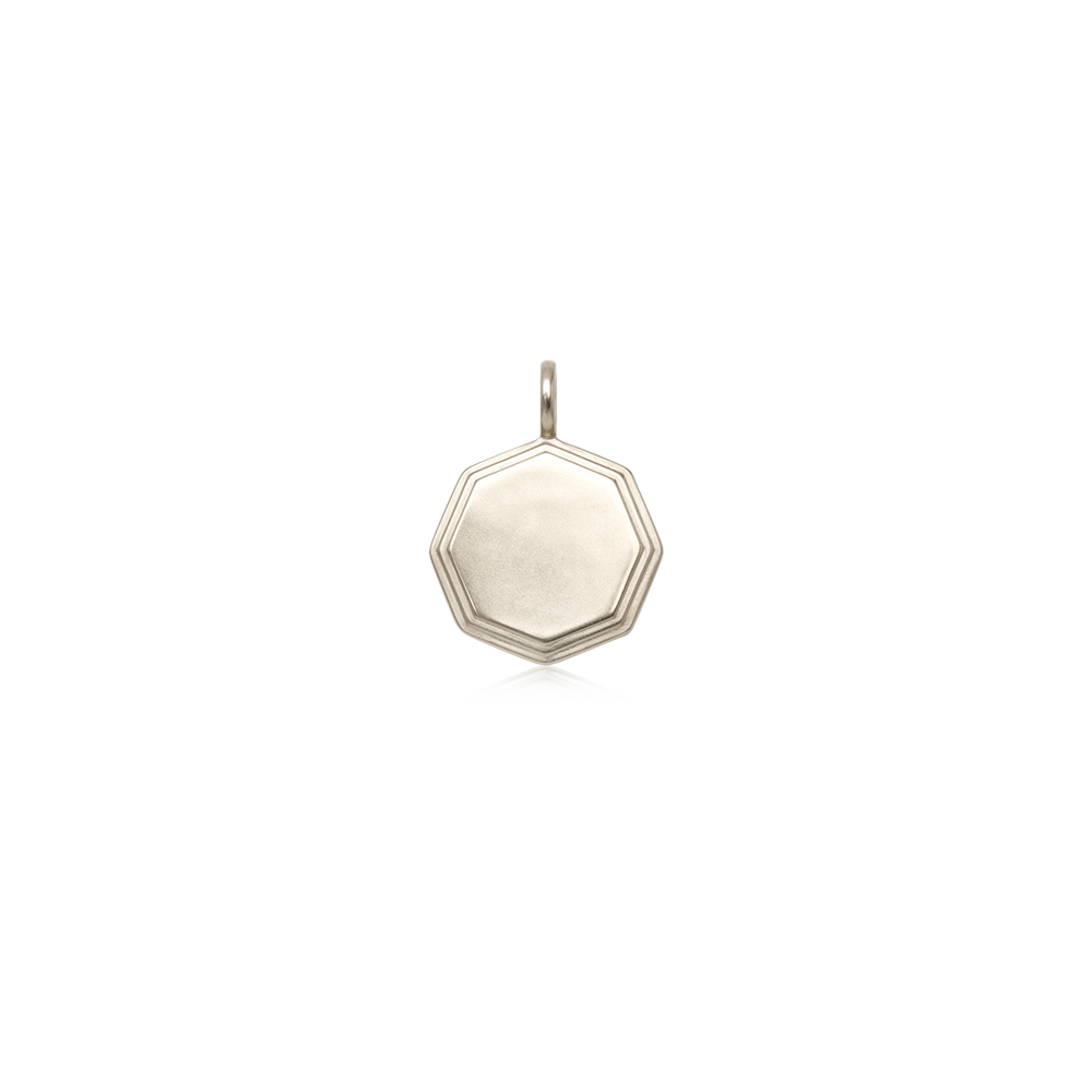 Silver Double-Step Medallion Charm — engravable area