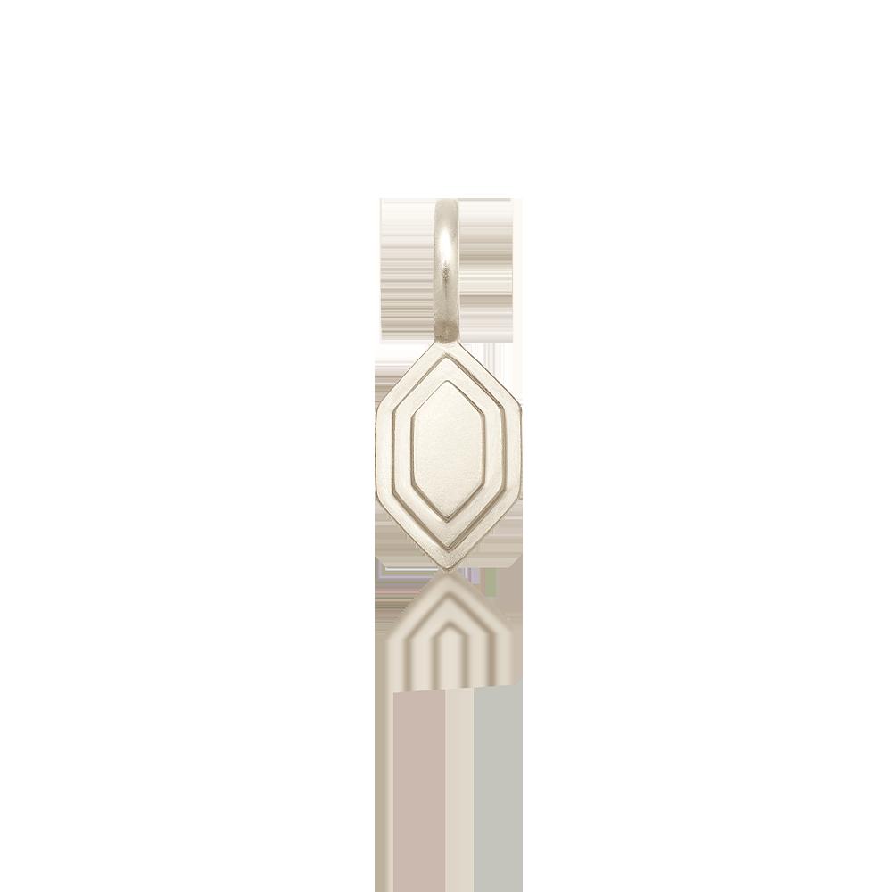 Silver Hex Double-Step Pendant — engravable area