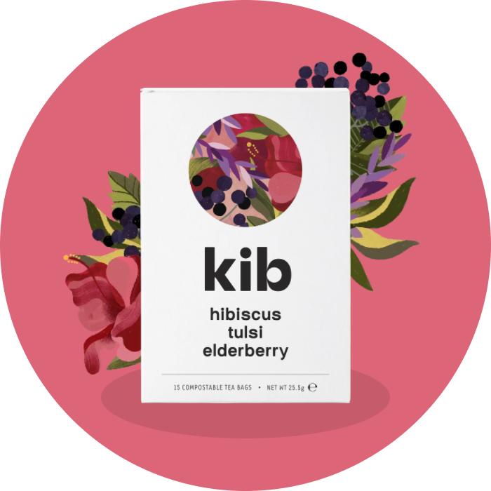 hibiscus, tulsi, elderberry