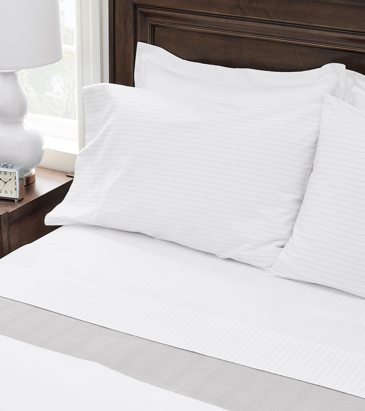 White Percale Sheet Set on bed