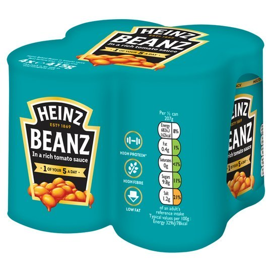 Photograph of 1 x 4 pack of 415g Heinz Beanz product