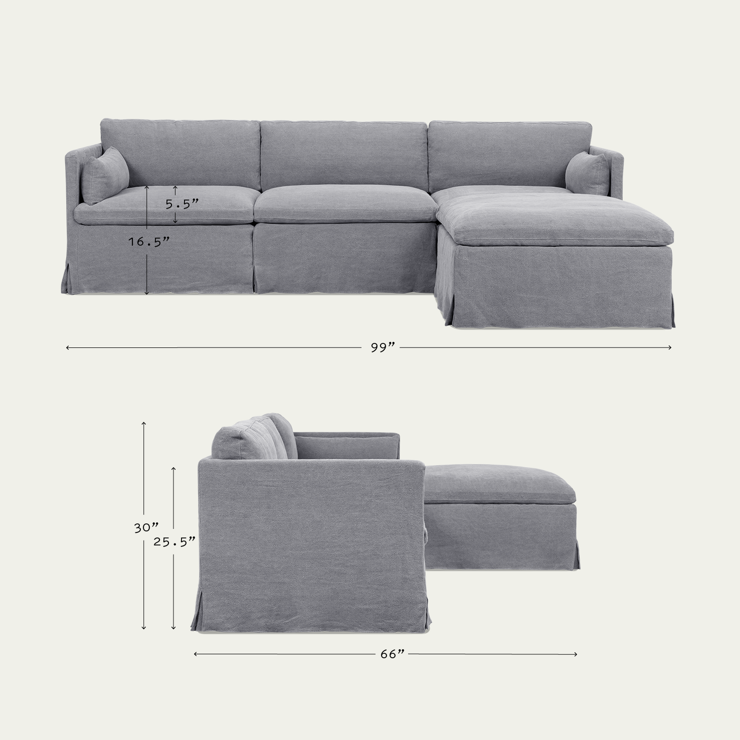 Gabriel 4 Piece Chaise Sectional Slim And Soft Home Sixpenny