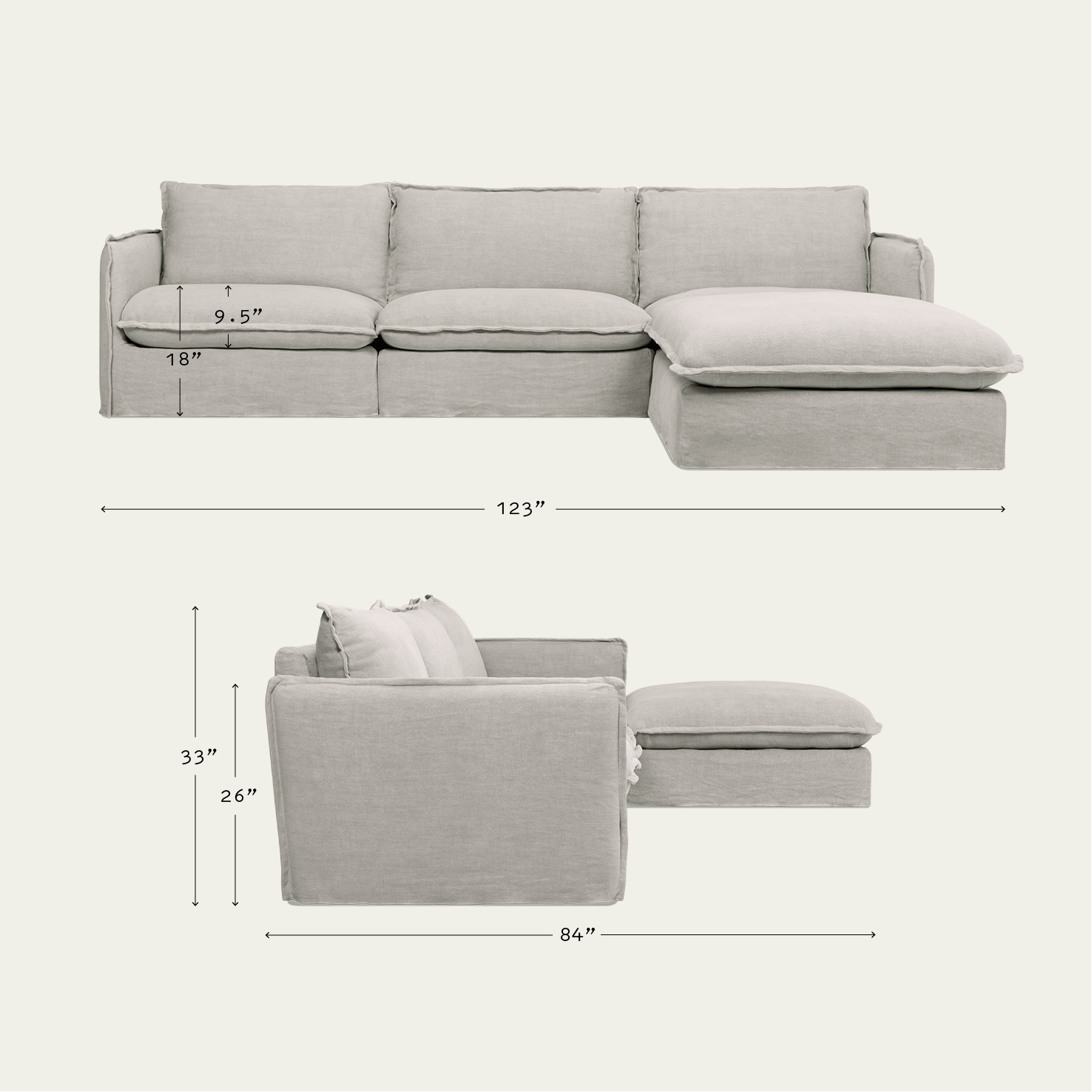 Neva 4 Piece Chaise Sectional Comfortable Home Sixpenny