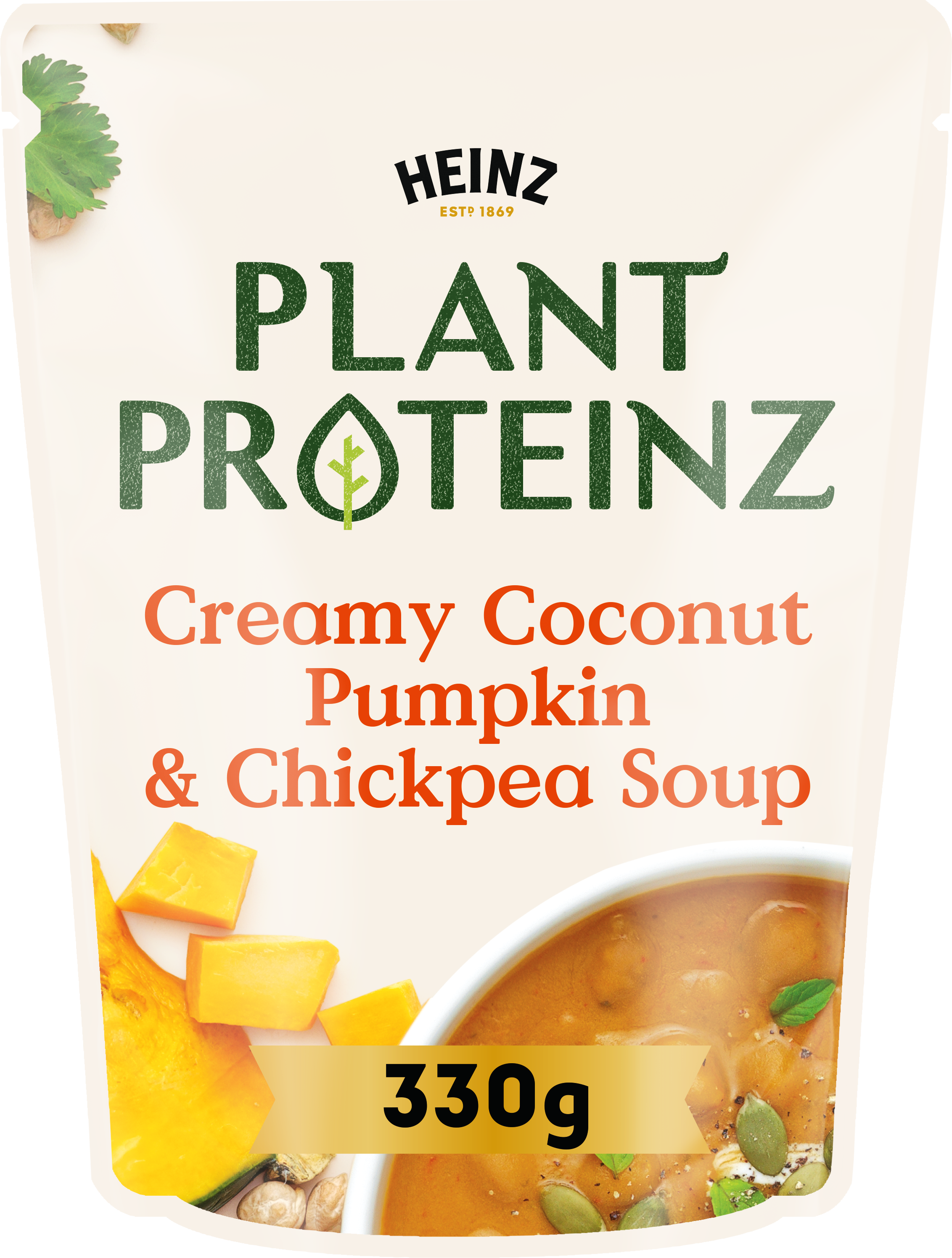 Photograph of 1 x 330g Heinz® Plant Proteinz Creamy Coconut, Pumpkin & Chickpea Soup product