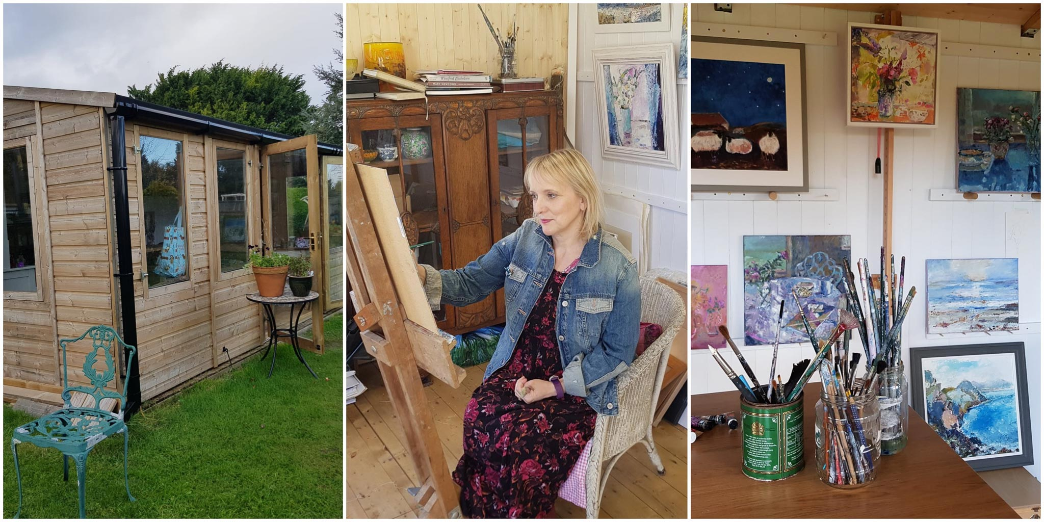 Original Art Cards and Prints by Judi Glover Art. The picture shows Judi Glover painting on an easel in her studio in the New Forest, Hampshire, UK.
