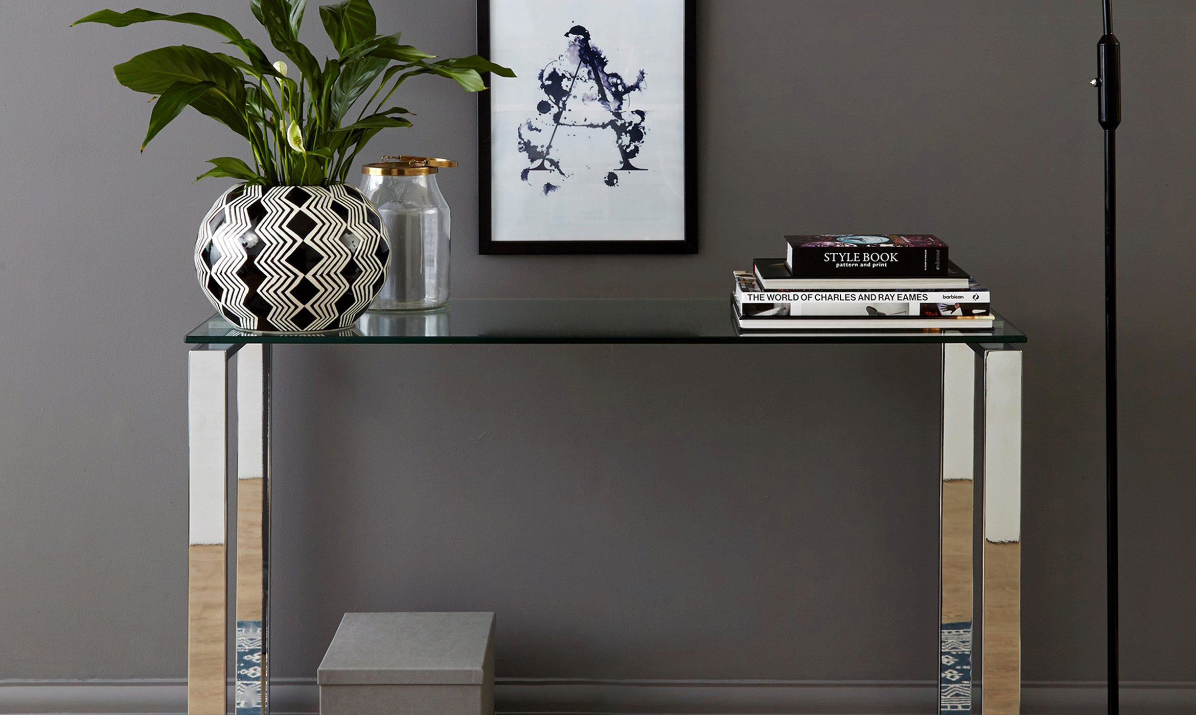 Tiva Chrome And Glass Console Table Danetti