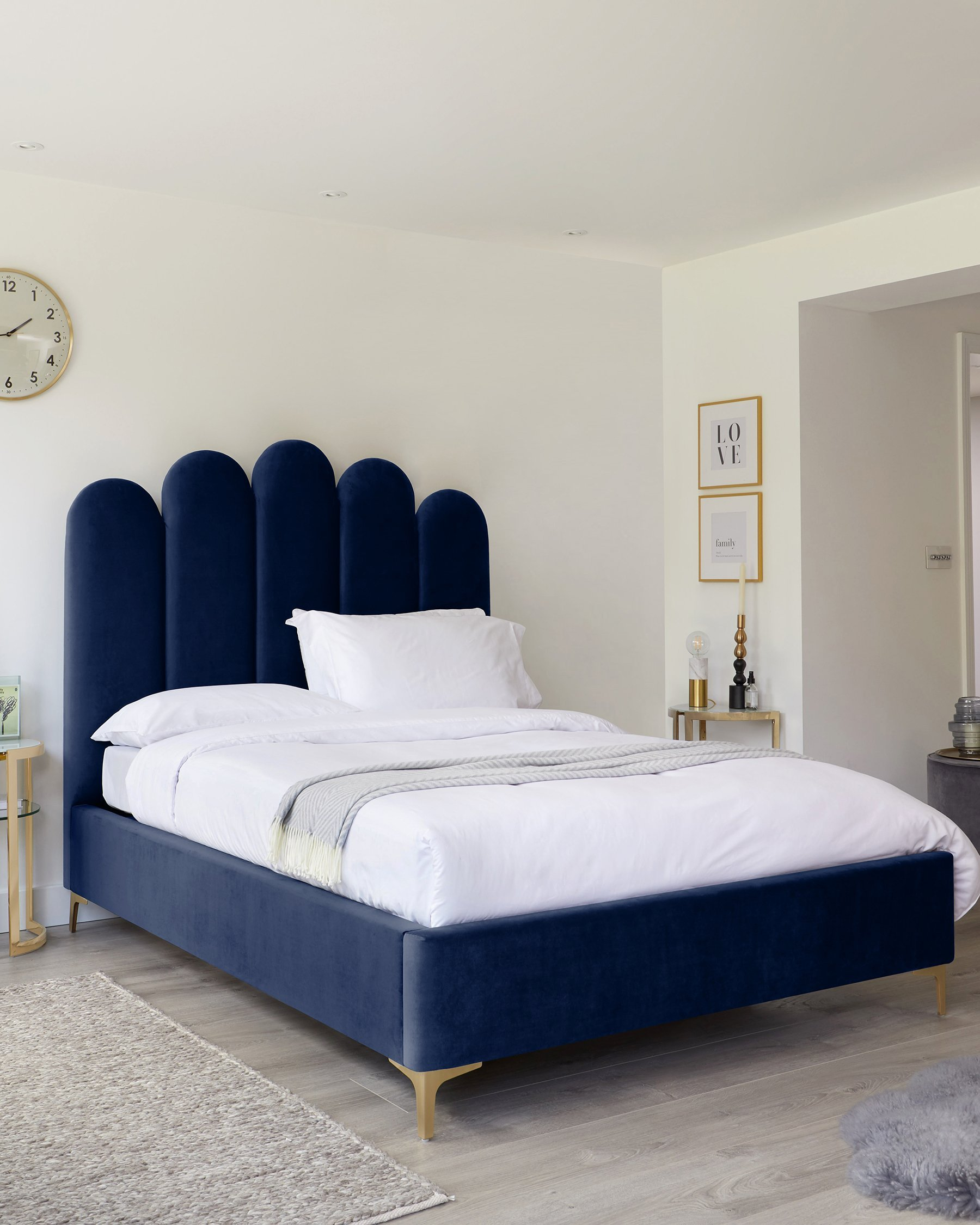 Navy Blue Brushed Velvet King Size Ottoman Bed With Brass Feet Danetti