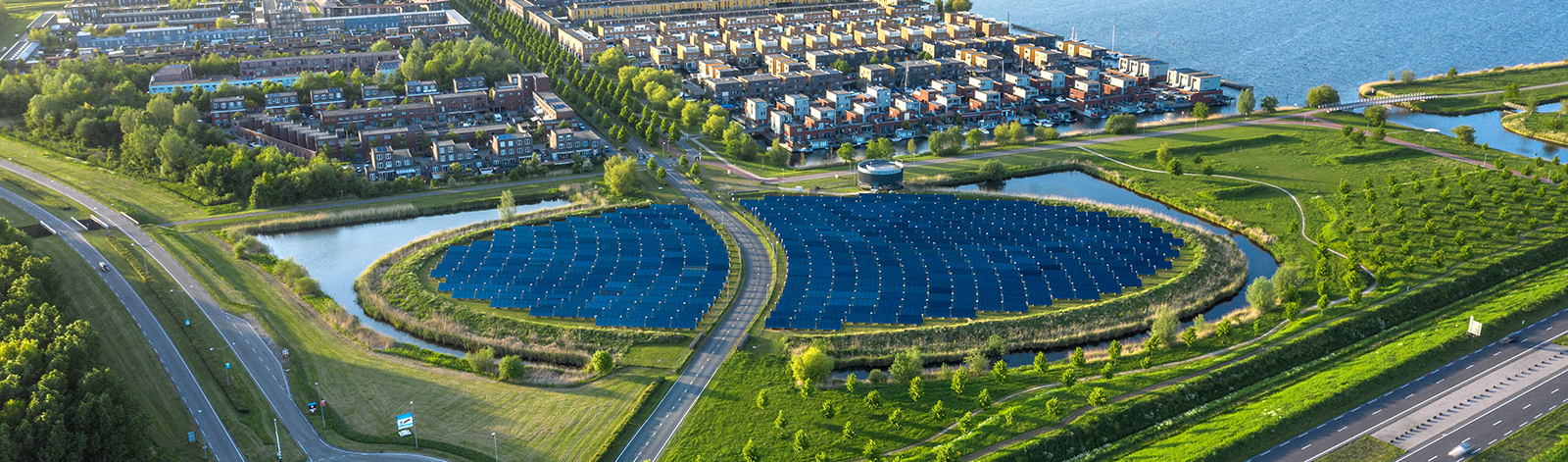 Aerial shot of a sustainable neighborhood in Almere, The Netherlands