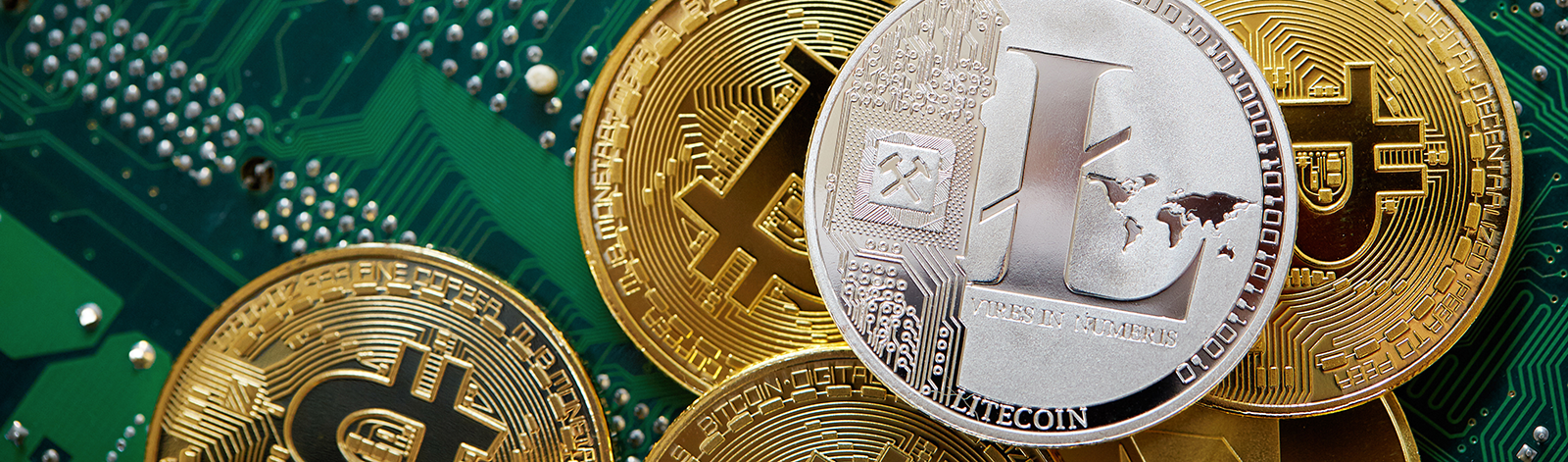 Stack of cryptocurrencies on motherboard