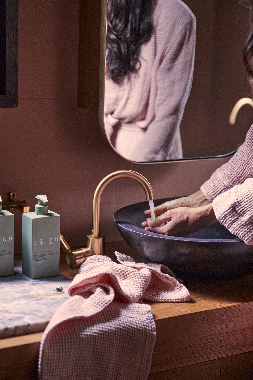 Natch Essential Hand Cream, Juno Blush Hand Towel + Juno Blush Robe