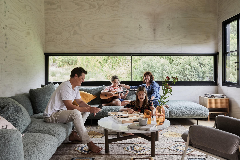 Miller Sofa, Dari Rug, Sidney Raw Coffee Table, Yeend Studio Vase + Jean Armchair