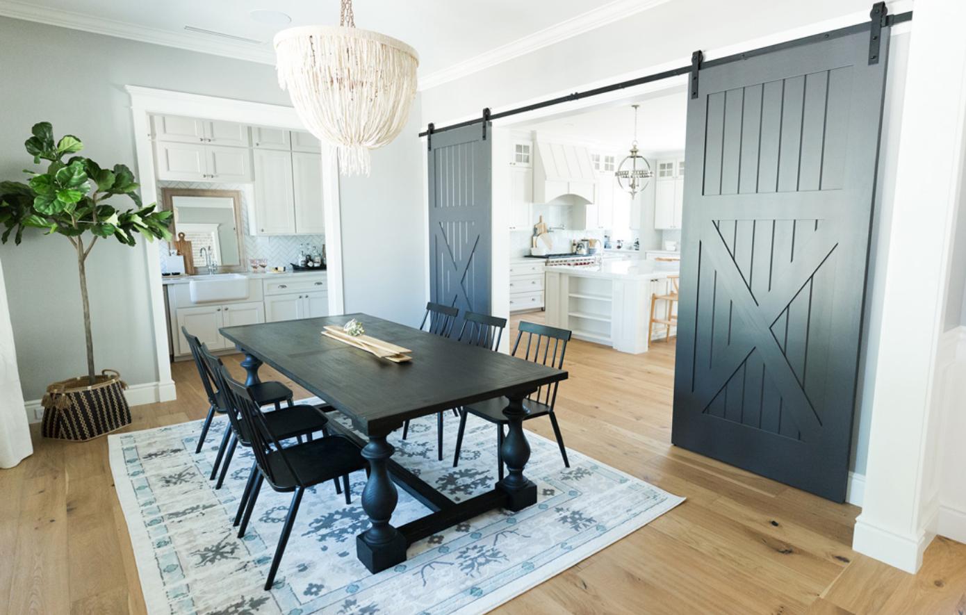 #CalleRosaProj Dining Room with Barn Doors