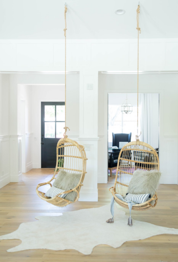#MBrookProj Hanging Rattan Chairs in Living Room